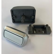 Rectangular Push Lock Handle Set  Chrome Matt