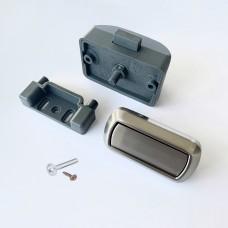 Rectangular Push Lock Handle Set WITH SCREWS Brushed Steel finish