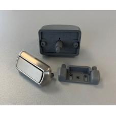 Rectangular Push Lock Set, Brushed Steel