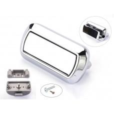 Rectangular Push Lock Handle Set WITH SCREWS Chrome Gloss
